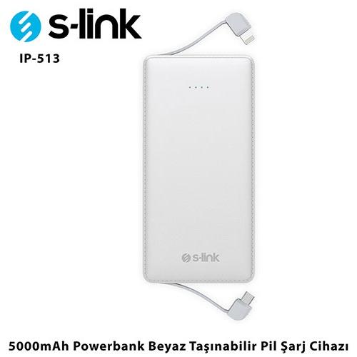 S-link IP-513 5000mAh Beyaz Powerbank