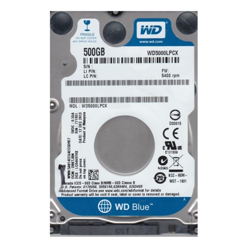 WD BLUE 2.5 500GB 32MB 5400RPM WD5000LPCX