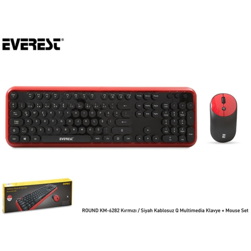 Everest Round KM-6282 Kablosuz Klavye+Mouse Siy-Kr