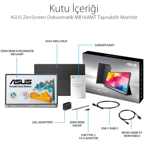 Asus 15.6 MB16AMT IPS MM Monitör Gri 5ms