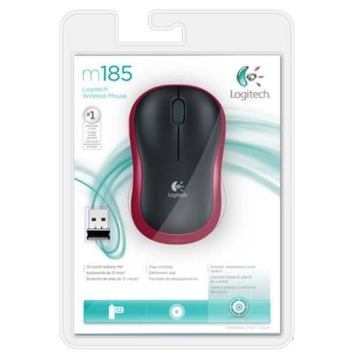 Logitech M185 Kablosuz Mouse Kırmızı 910-002237