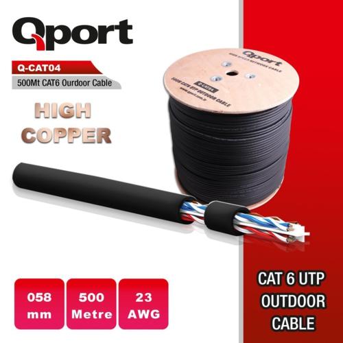 Qport Q-CATO4 CAT6 500M UTP 23Awg Kablo Siyah