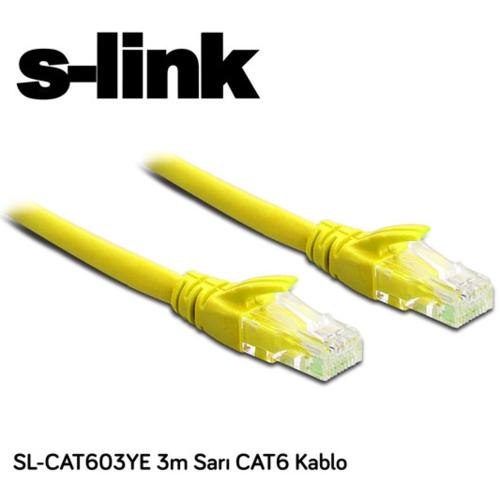 S-Link SL-CAT603YE CAT6 Patch Kablo 3m Sarı