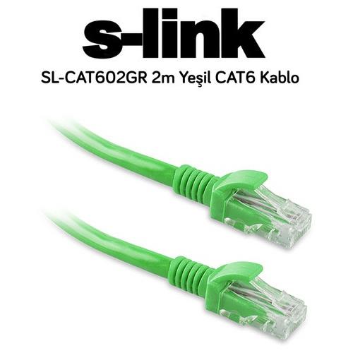 S-link SL-CAT602GR CAT6 Patch Kablo 2m Yeşil