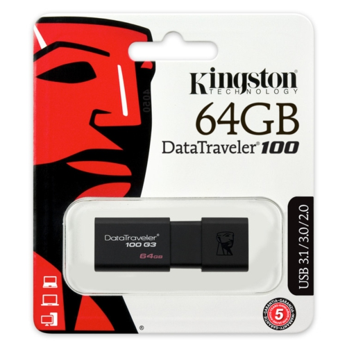 Kingston 64GB USB3.0 Memory DT100G3/64GB Siyah