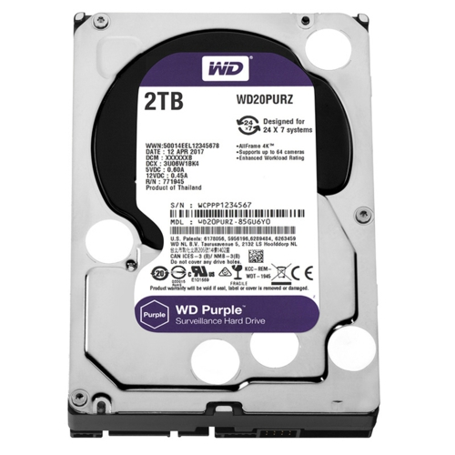 WD PURPLE 3,5 2TB 64MB 5400RPM WD20PURZ
